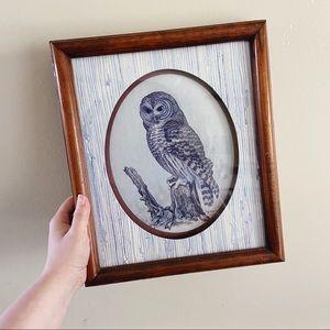 Vintage E. Rambow Barn Owl Framed Art